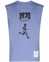 Satisfy X 50 Years 1970 プリント タンクトップ - ブルー