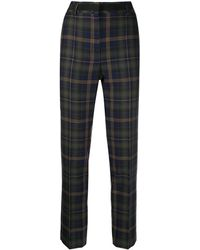 Mulberry Plaid Fitted Cropped Trousers - Blue