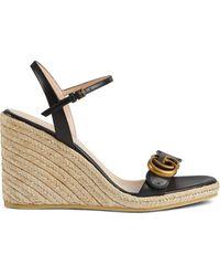Gucci Aitana 85mm Espadrille Wedge Sandals - Black