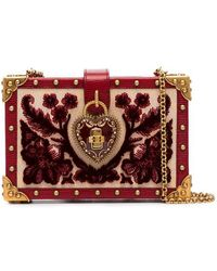 ba3deaaaf0df52 Dolce   Gabbana - Heart Lock Embellished Velvet Box Bag - Lyst