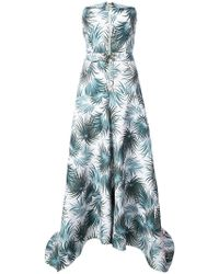Nicole Miller - Foliage Print Strapless Gown - Lyst