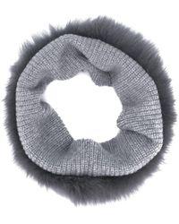 Yves Salomon Knitted Snood - Gray