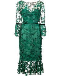 Marchesa notte Embroidered Midi Tea Dress - Groen