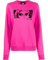 Karl Lagerfeld Sudadera de tejido afelpado Karl x Carine - Rosa