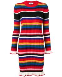 MSGM - Striped Ribbed Knit Dress - Lyst