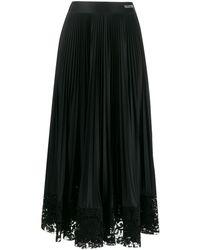 Valentino Jupe plissée à ourlet en dentelle - Noir