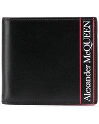 Alexander McQueen - ブラック And レッド ロゴ バイフォールド ウォレット - Lyst