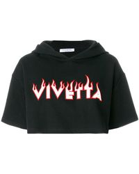 Vivetta - Logo Embroidered Cropped Hoodie - Lyst