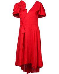 Delpozo リボン ドレス - レッド