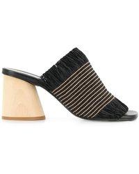 Proenza Schouler Fringe Wood Heel Slides - Negro