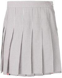 Thom Browne Seersucker Mini Pleated Skirt - グレー