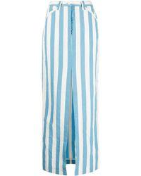 Sunnei ストライプ マキシスカート - ブルー