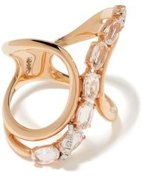 Brumani 18kt Rose Gold Looping Shine Diamond And Quartz Ring - Metallic