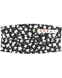 Marni Floral-print Cotton Face Mask - Black