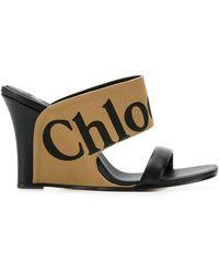 Chloé Sandalias Verena con logo - Negro