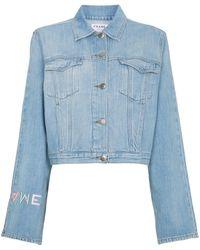 FRAME Le Embroidery デニムジャケット - ブルー