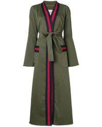 Bazar Deluxe Embellished Striped Coat - Green