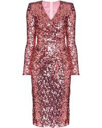 Dolce & Gabbana Платье С Запахом И Пайетками - Розовый
