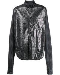 Comme des Garçons メタリックパネル シャツ - ブラック