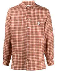 Gucci Клетчатая Рубашка С Нашивкой - Коричневый