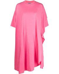 Balenciaga Драпированное Платье Circle Асимметричного Кроя - Розовый