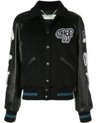 Off-White c/o Virgil Abloh Appliquéd Wool-blend And Leather Bomber Jacket - Black