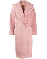 Blanca Vita Long Double-breasted Teddy Coat - Pink