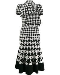 Alexander McQueen Tie-neck Houndstooth Midi-dress - Black