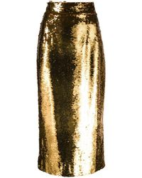 Dolce & Gabbana Sequin-embellished Pencil Skirt - Yellow