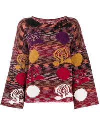 See By Chloé Flared Sleeve Floral Knitted Jumper