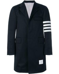 Thom Browne Unconstructed 4-bar Stripe Classic Chesterfield Overcoat - Blauw