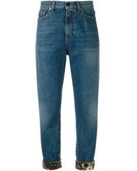 Saint Laurent - Sequin Turn-up Jeans - Lyst
