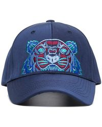 KENZO - Navy Tiger Embroidered Cotton Cap - Lyst
