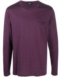 Balmain ロゴ Tシャツ - パープル