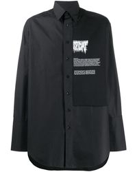 Yang Li Boxy Fit Contrast Panel Shirt - Black