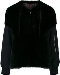 Blancha - Contrast Material Bomber Jacket - Lyst