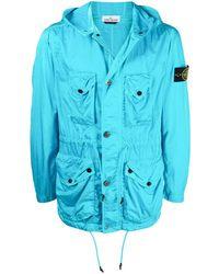 Stone Island Легкая Куртка С Капюшоном И Нашивкой-логотипом - Синий