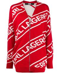 Karl Lagerfeld Zip Logo Wool Cardigan - Red