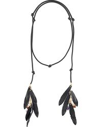 DSquared² Leather Necklace With Feather And Crystal Detailing - Black