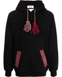 Adish Tassel-detail Knitted Hoodie - Black