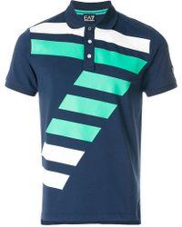 EA7 - Colour-block Printed Polo Shirt - Lyst