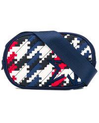 Perfect Moment Geometric Houndstooth Print Belt Bag - Blue