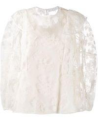 Chloé Блузка С Цветочной Вышивкой - Белый