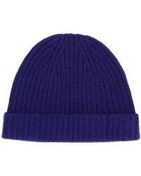 Cruciani Rib Knit Beanie - Blue