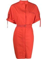 Yves Salomon Short-sleeve Belted Dress - Red