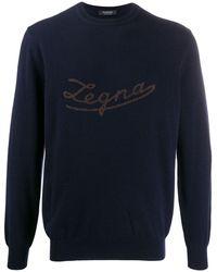 Ermenegildo Zegna ロゴ カシミアセーター - ブルー
