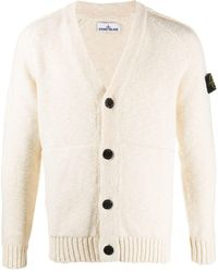 Stone Island Knitted V-neck Cardigan - White