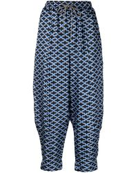 ODEEH Pantalones estilo harén con estampado festoneado - Azul