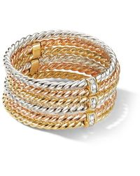 David Yurman 18kt Gold Diamond Six Row Origami Ring - Metallic