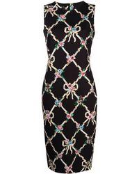 Boutique Moschino フローラル アーガイルドレス - ブラック
